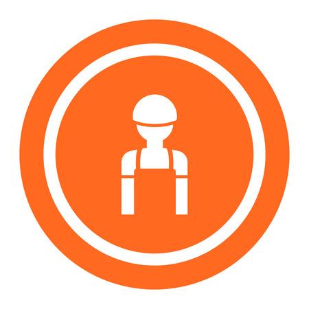 overol: Icono de silueta mono y casco de seguridad que llevan del hombre