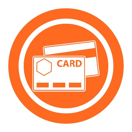 six objects: Set of vector icons with credit cards, with text on green ribbon