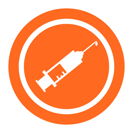 six objects: Set of icons with syringe with vaccine drop, with text on green ribbon