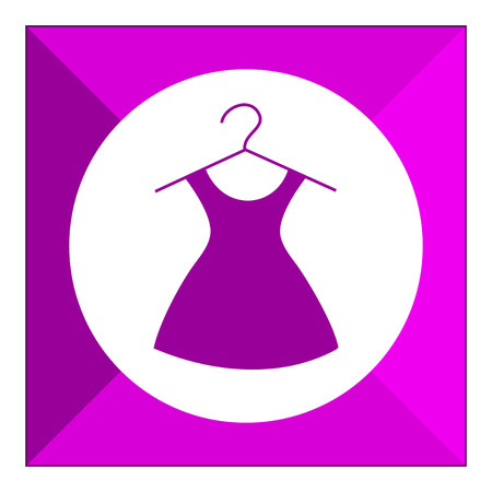 six objects: Set of vector icons with dress on hanger, with text on green ribbon