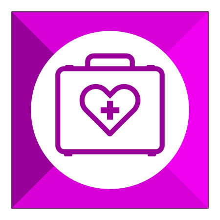 six objects: Set of icons with medical kit, with text on green ribbon