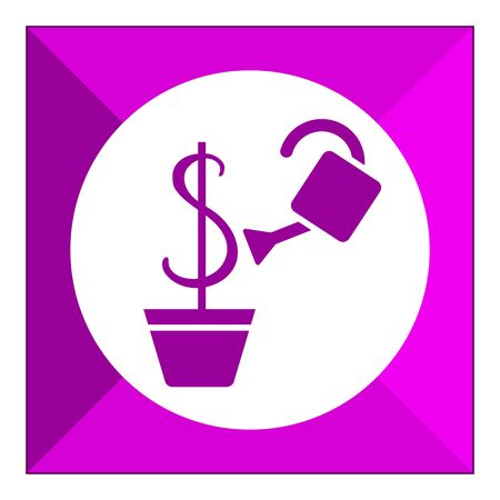 pouring: Icon of watering can pouring water on dollar sign