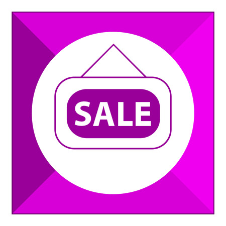 six objects: Set of vector icons with sale door sign, with text on green ribbon
