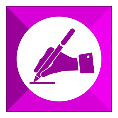 hand writing: Icon of mans hand writing with pen