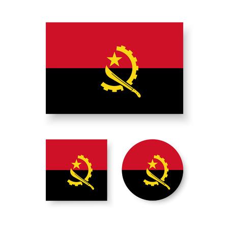 estrellas cinco puntas: Conjunto de iconos del vector de la bandera de Angola
