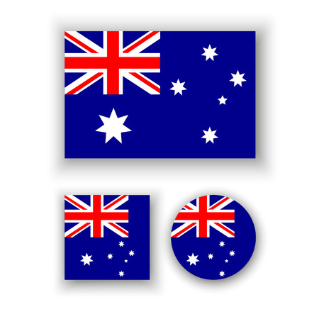 Set of vector icons with Australia flag Çizim