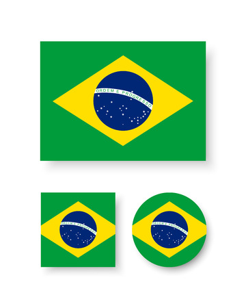 brazil country: Set of vector icons with Brazil flag