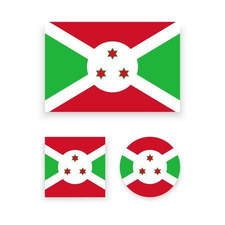 burundi: Set of vector icons with Burundi flag