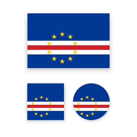 cape verde: Set of vector icons with Cape Verde flag