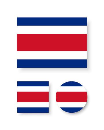 rican: Conjunto de iconos del vector de la bandera de Costa Rica