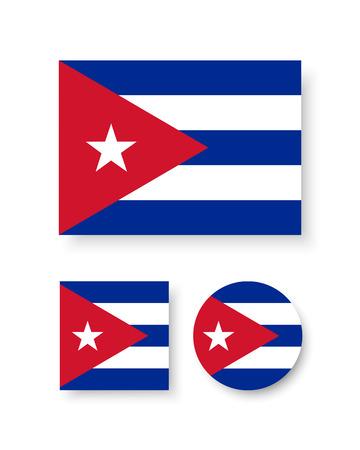 bandera de cuba: Conjunto de iconos del vector con la bandera de Cuba