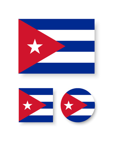 cuban flag: Set of vector icons with Cuba flag