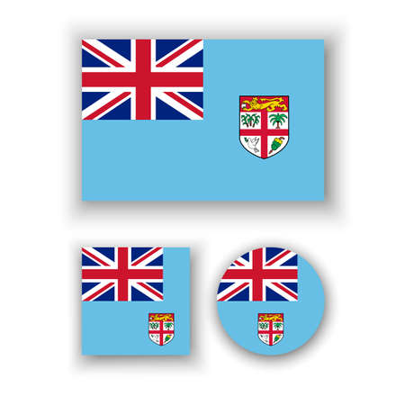 fiji: Set of vector icons with Fiji flag Illustration