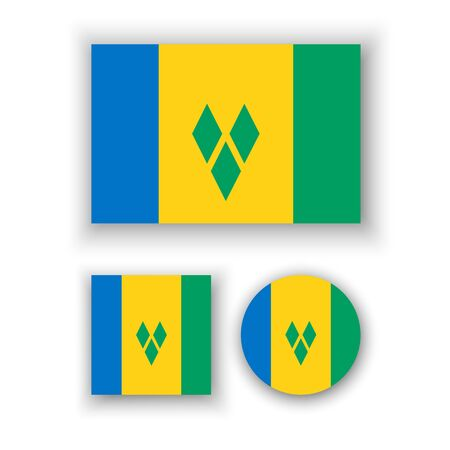 grenadines: Set of vector icons with flag of Saint Vincent and the Grenadines Illustration