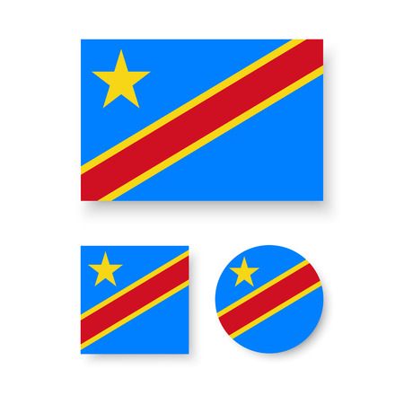 estrellas cinco puntas: Set of vector icons with flag of the Democratic Republic of the Congo Vectores