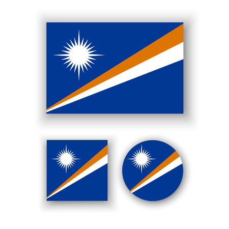 marshall: Set of vector icons with flag of the Marshall Islands Illustration