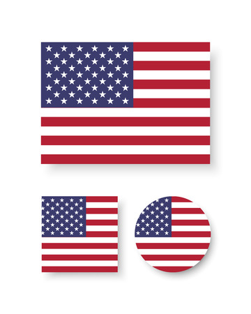 red america: Set of vector icons with flag of the United States of America Illustration