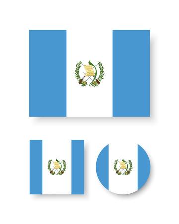 bandera de guatemala: Conjunto de iconos del vector de la bandera de Guatemala