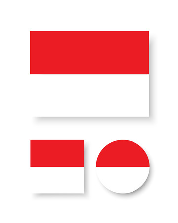 indonesia: Set of vector icons with Indonesia flag Illustration