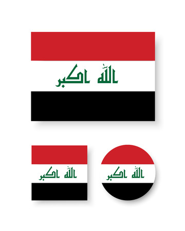 iraq flag: Set of vector icons with Iraq flag