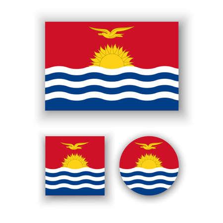 kiribati: Set of vector icons with Kiribati flag Illustration