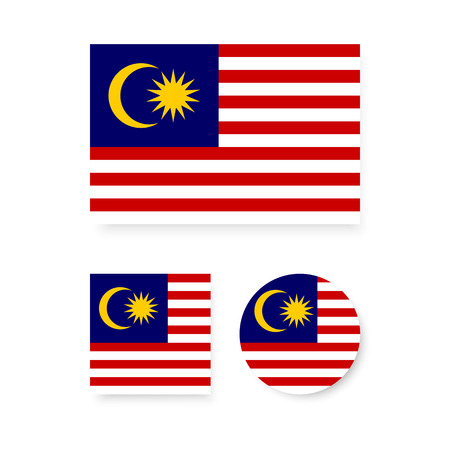 Set of vector icons with Malaysia flag