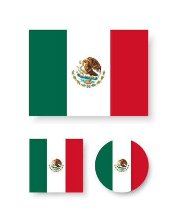 Set of vector icons with Mexico flag