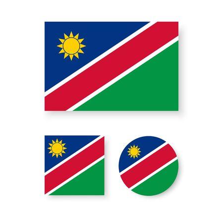 Set van vector iconen met de vlag van Namibië