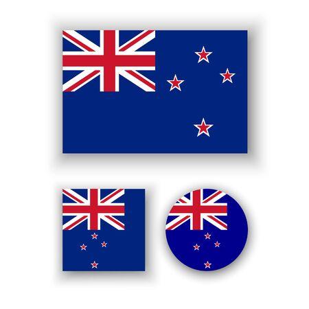 new zealand flag: Set di icone vettoriali con la Nuova Zelanda bandiera Vettoriali