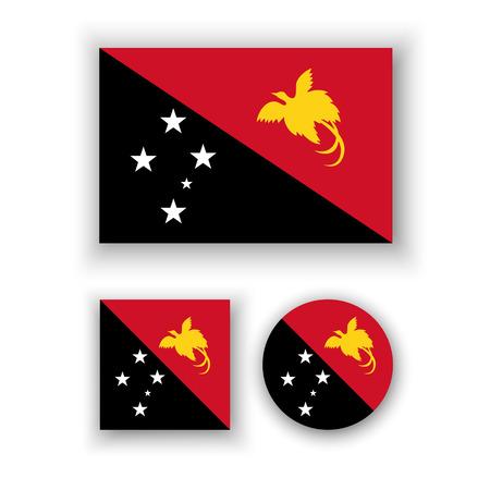 papouasie: Ensemble d'ic�nes vectorielles avec le drapeau Papouasie-Nouvelle-Guin�e Illustration