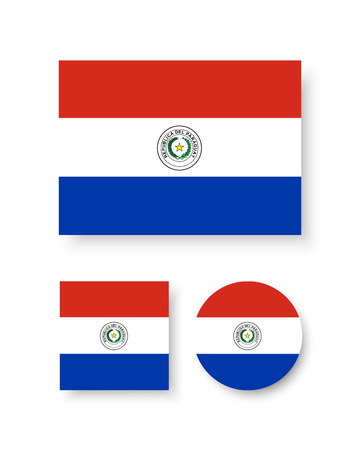 Paraguay flag: Conjunto de iconos del vector de la bandera de Paraguay