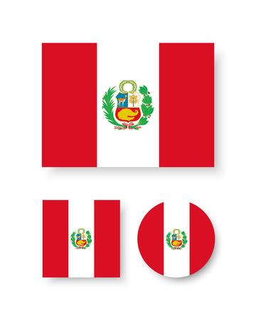 ペルーの旗とベクトルのアイコン セット  イラスト・ベクター素材