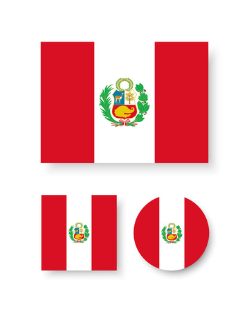 peru: Set of vector icons with Peru flag Illustration