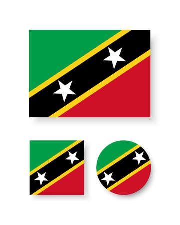 estrellas cinco puntas: Conjunto de iconos del vector con la bandera de Saint Kitts y Nieves