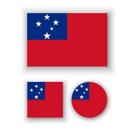 estrellas cinco puntas: Conjunto de iconos del vector con la bandera de Samoa