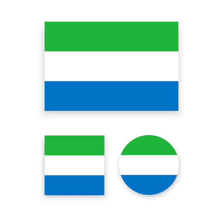 sierra: Set of vector icons with Sierra Leone flag