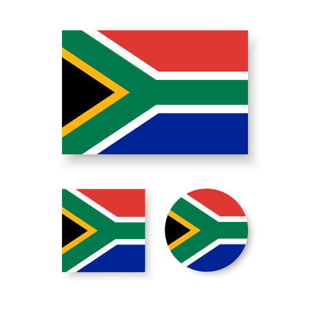 south africa flag: Set of vector icons with South Africa flag