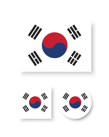 Set of vector icons with South Korea flag 일러스트