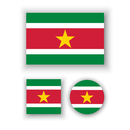 suriname: Set of vector icons with Suriname flag