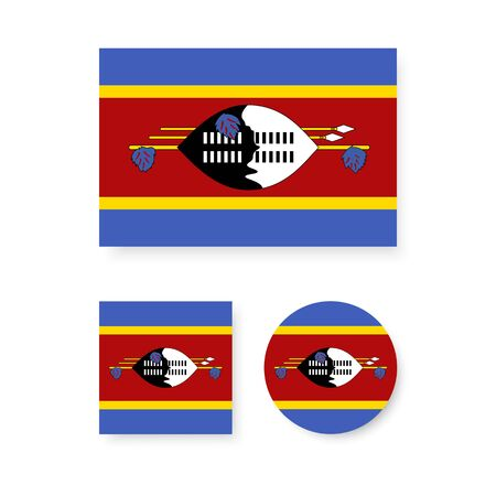 swaziland: Set of vector icons with Swaziland