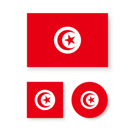 estrellas cinco puntas: Conjunto de iconos del vector de la bandera de Túnez Vectores