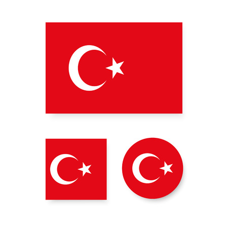 turkey: Set of vector icons with Turkey flag