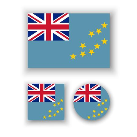 tuvalu: Set of vector icons with Tuvalu flag