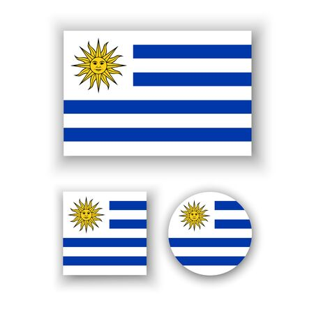 uruguay flag: Set of vector icons with Uruguay flag