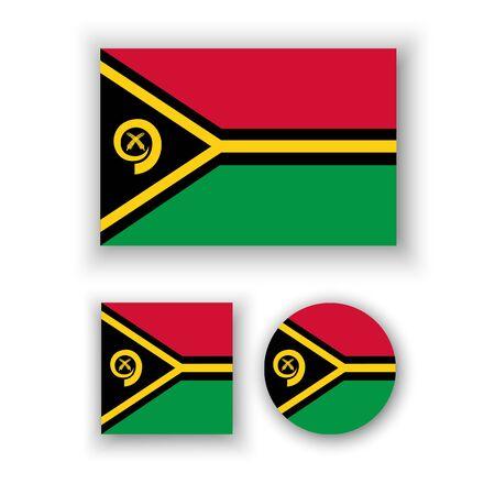 vanuatu: Set of vector icons with Vanuatu flag