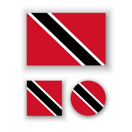 trinidad: Set of vector icons with Trinidad and Tobago flag Illustration