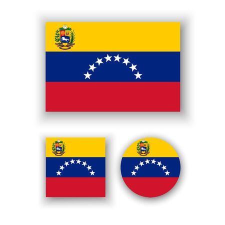 venezuelan: Conjunto de iconos del vector con la bandera de Venezuela