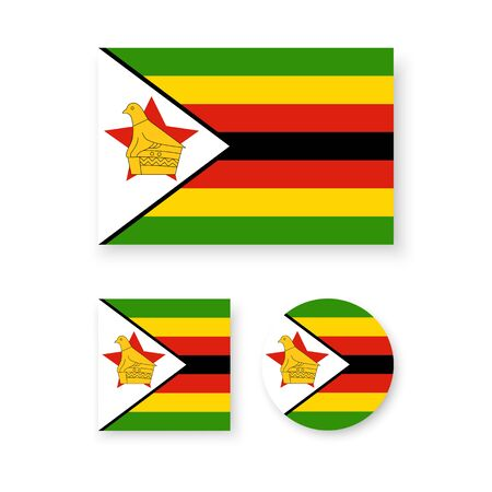 soapstone: Set of vector icons with Zimbabwe flag