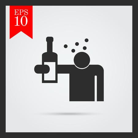 borracho: Icono del sentimiento silueta del hombre mareado despu�s de haber bebido demasiado alcohol