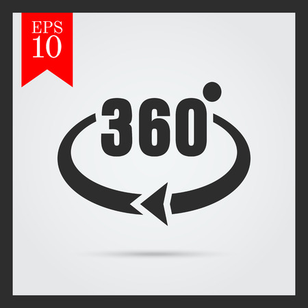 degrees: Icon of Angle 360 degrees sign Illustration